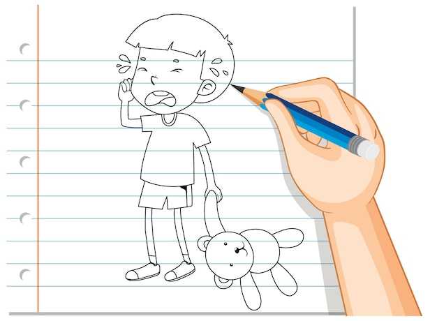 Hand writing of boy crying with teddy bear outline Free Vector