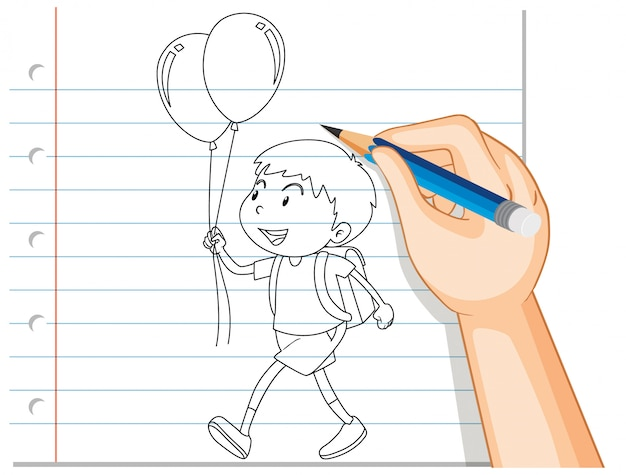 Hand writing of boy holding balloon Free Vector