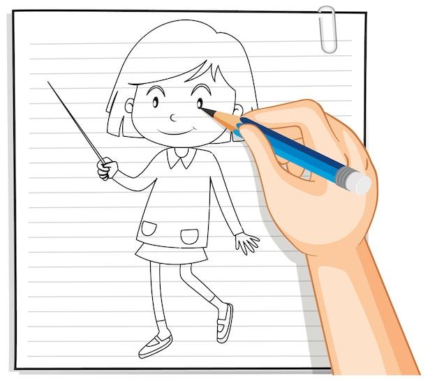Scrittura della mano di ragazza carina con contorno di bacchetta Vettore gratuito