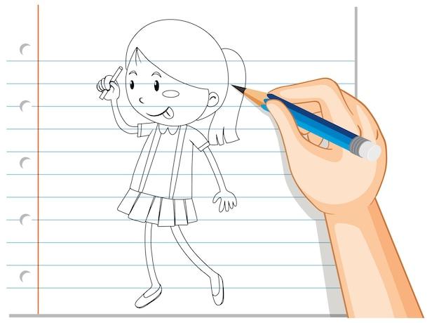 Scrittura a mano del contorno ragazza carina Vettore gratuito