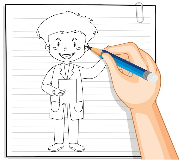 Hand writing of doctor man outline Free Vector