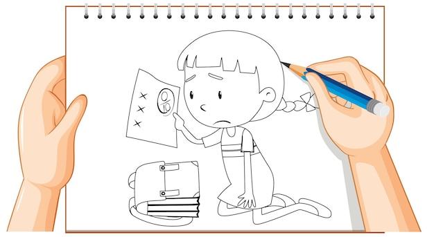 La scrittura a mano della ragazza ha un cattivo contorno del voto d'esame Vettore gratuito