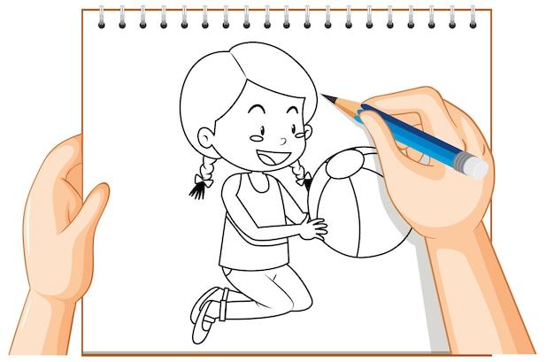 Scrittura della mano della ragazza con contorno di palla Vettore gratuito