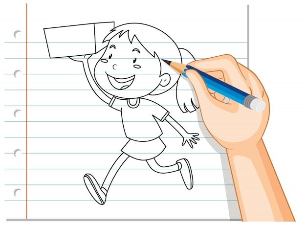 Hand writing of girl holding the box outline Free Vector