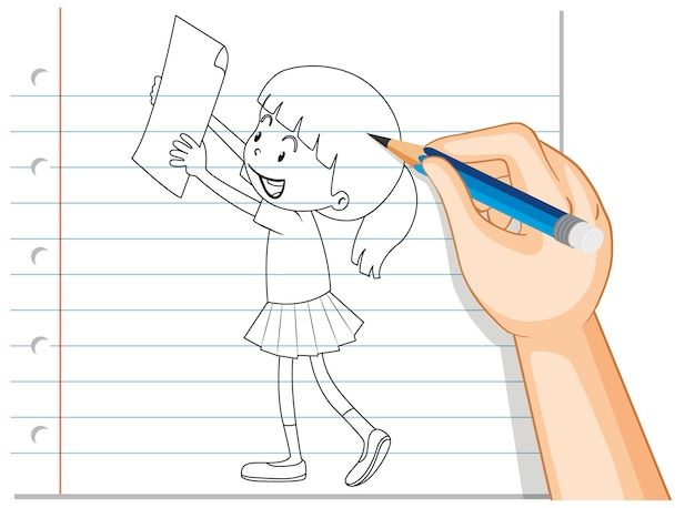 Hand writing of girl holding paper outline Free Vector
