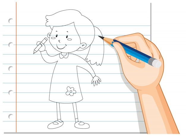 Hand writing of girl holding pencil outline Free Vector