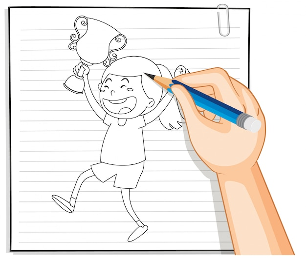 Hand writing of girl holding trophy outline Free Vector