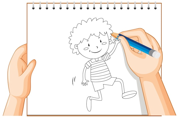 Hand writing of happy boy greeting someone outline Free Vector