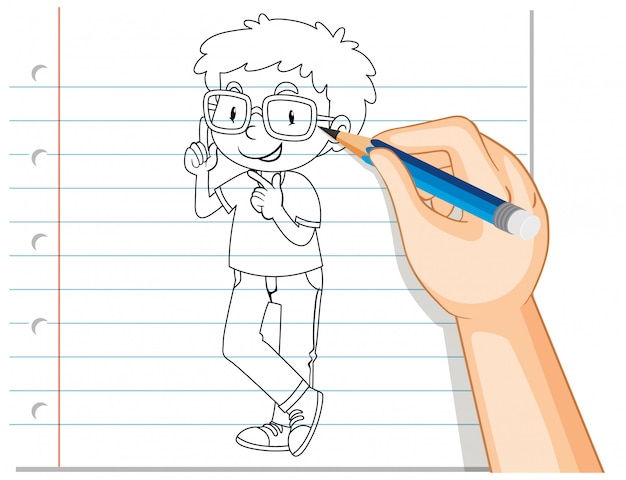 Scrittura della mano di contorno ragazzo nerd Vettore gratuito