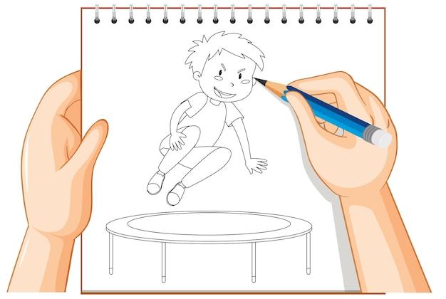 Почерк мальчика, прыгающего на батуте наброски Бесплатные векторы