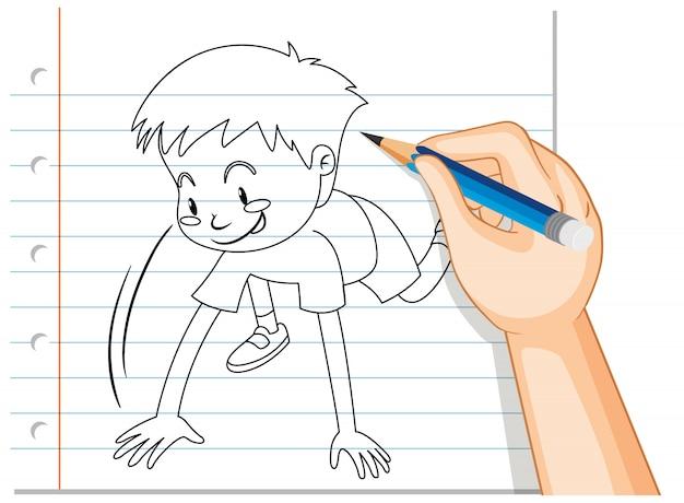 Почерк мальчика, начинающего бегать позы наброски Бесплатные векторы