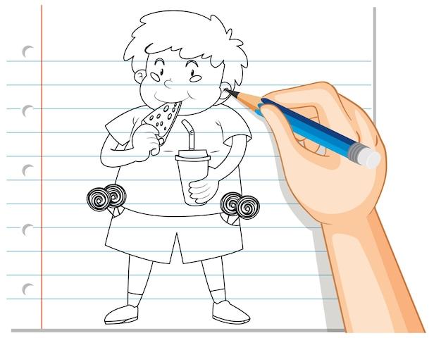 Почерк милый толстый мальчик ест пиццу наброски Бесплатные векторы