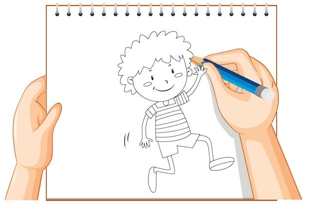Почерк счастливого мальчика, приветствующего кого-то наброски Бесплатные векторы