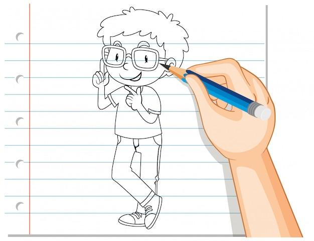 Почерк наброски ботаника мальчик Бесплатные векторы