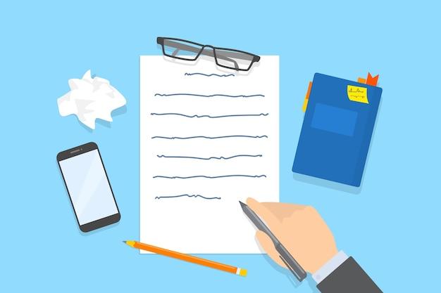 Почерк текстовое сообщение на листе бумаги. работаю копирайтером или журналистом. творческий ум и мозговой штурм. иллюстрация Premium векторы