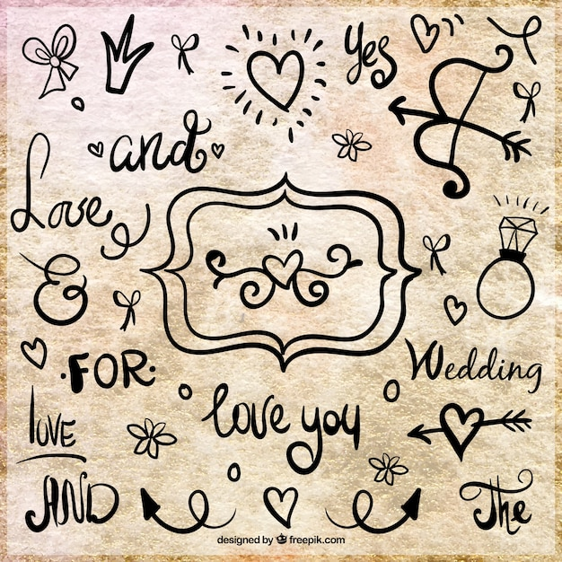 Hand-written catchwords of wedding and decoration Free Vector
