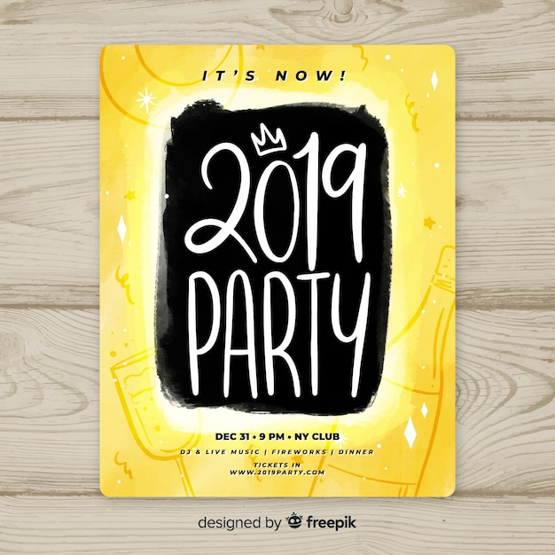 hand written new year poster template free vector