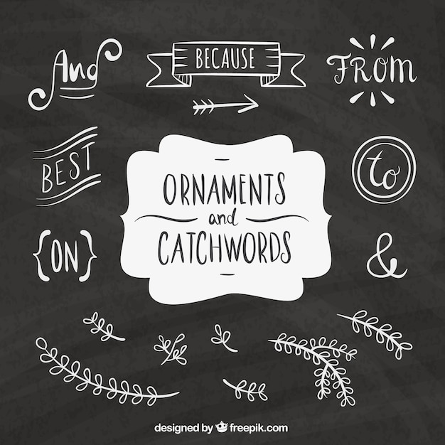 Chalkboard elements vectors photos and psd files free download hand written words and sketches decorative elements junglespirit Image collections