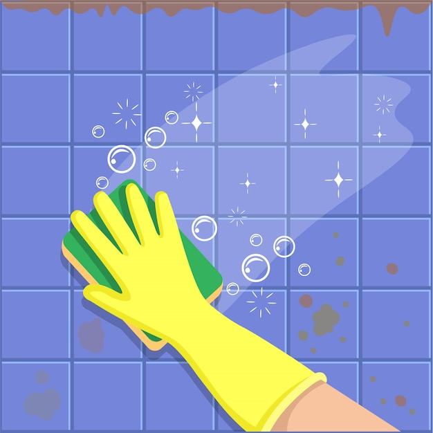 The hand in a yellow glove with sponge washes a tiles. a concept for cleaning companies. before and after cleaning. flat vector illustration. Premium Vector