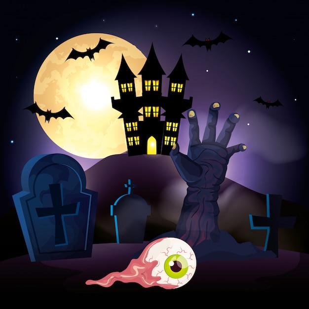 Hand of zombie in cemetery in scene halloween Free Vector