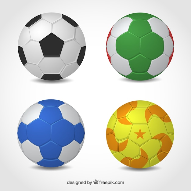 Handball balls collection in realistic style Free Vector