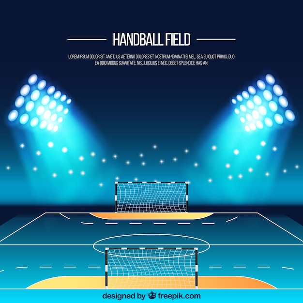 Handball field background in realistic style Free Vector