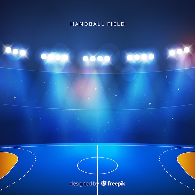 Handball field realistic background Free Vector