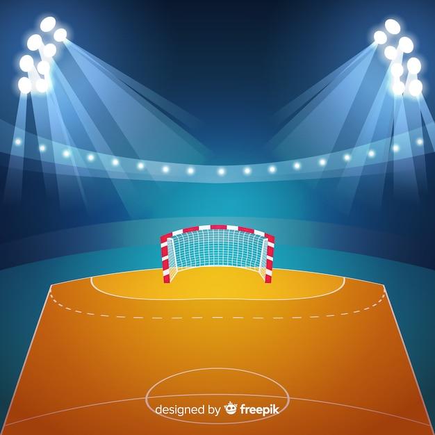 Handball field realistic background Free Vector