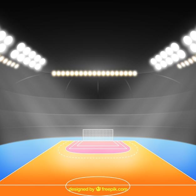 Handball field in realistic style Free Vector