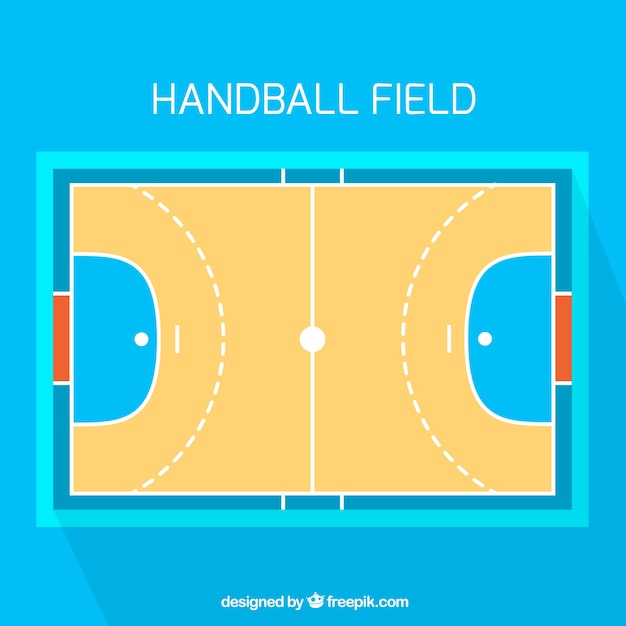 Handball field with top view Free Vector