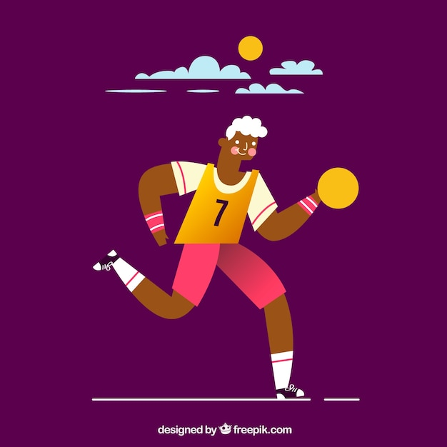 Handball player in hand drawn style Free Vector