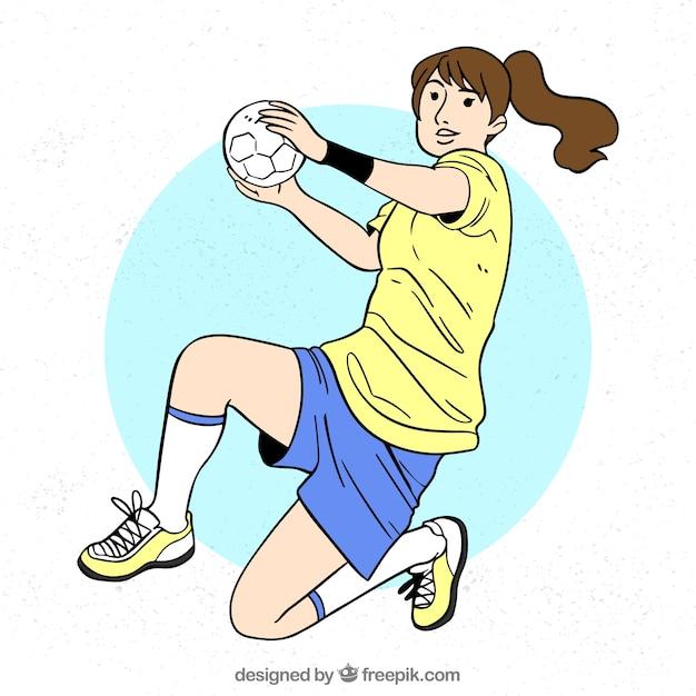 Handball player in hand drawn style Free Vector