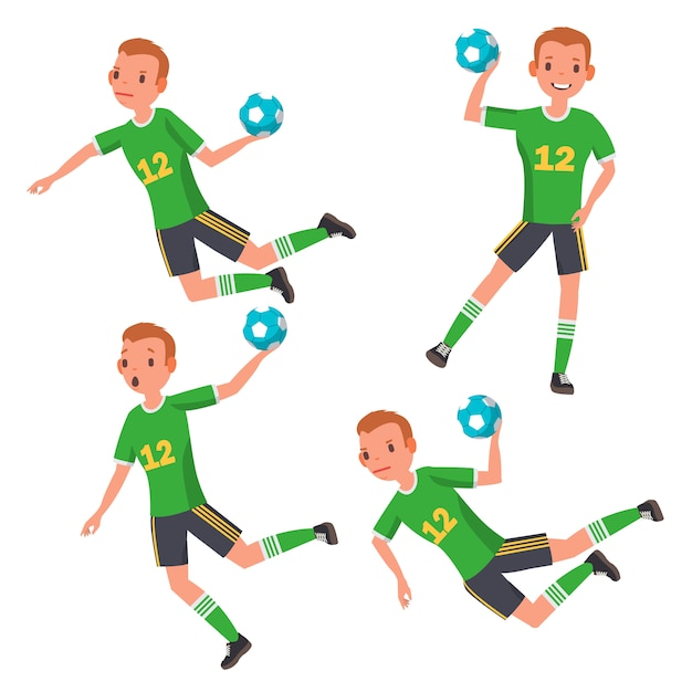 Handball player male Premium Vector