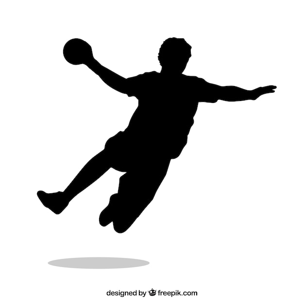 Handball player silhouette Free Vector