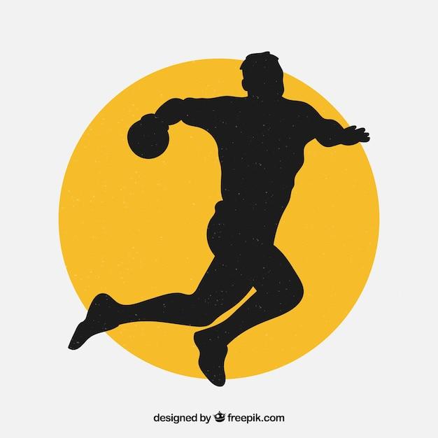 Handball player silhouette Free Vector