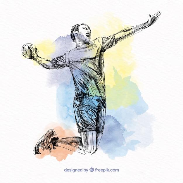 Handball player in sketch style Free Vector