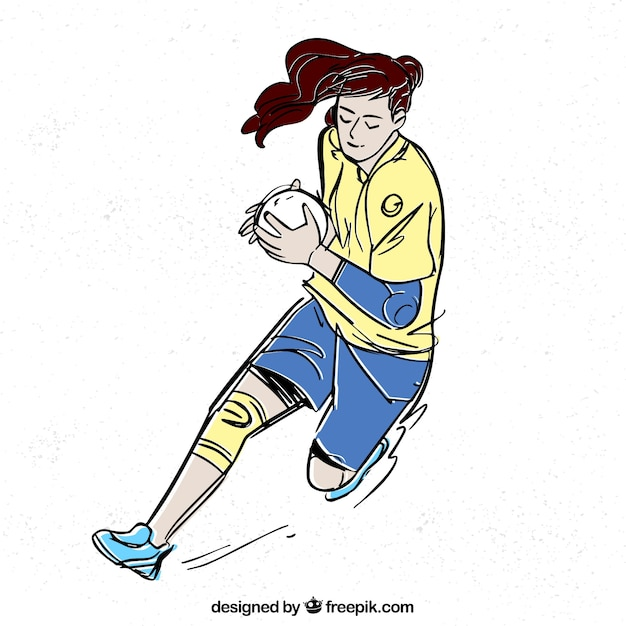 Handball player in sketch style Free Vector