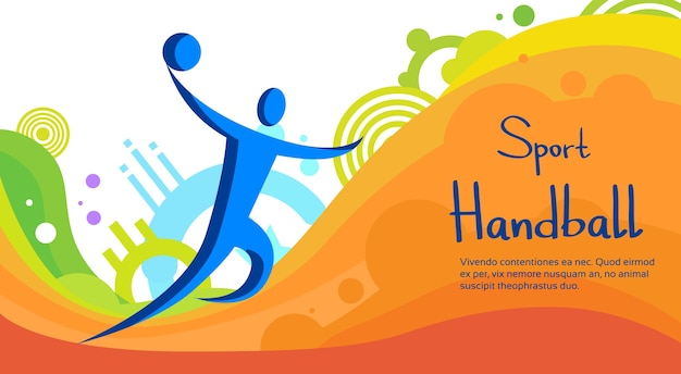 Handball player sport competition colorful banner Premium Vector