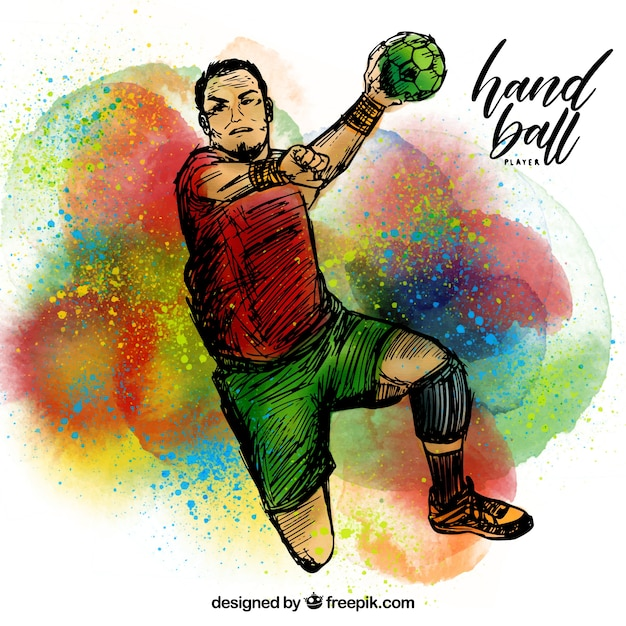 Handball player with sketchy style Free Vector