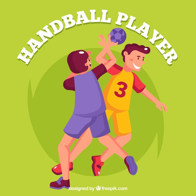 Handball players in hand drawn style Free Vector