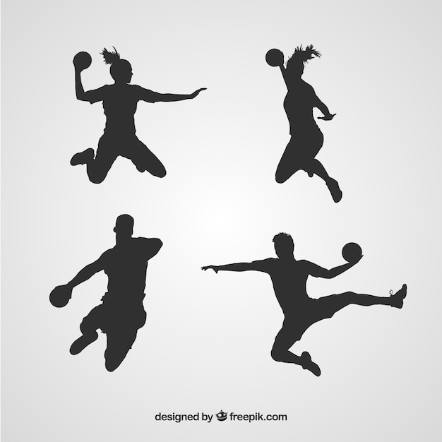 Handball players silhouette  Free Vector