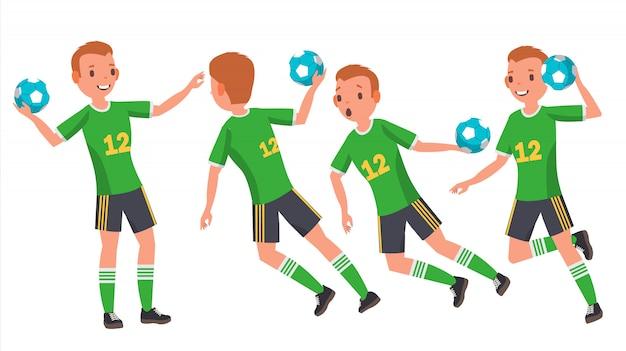 Handball young man Premium Vector
