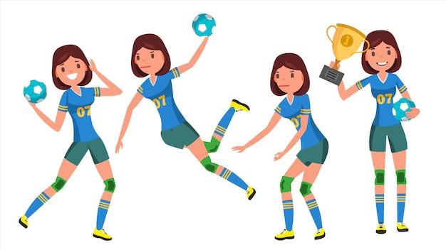 Handball young woman Premium Vector