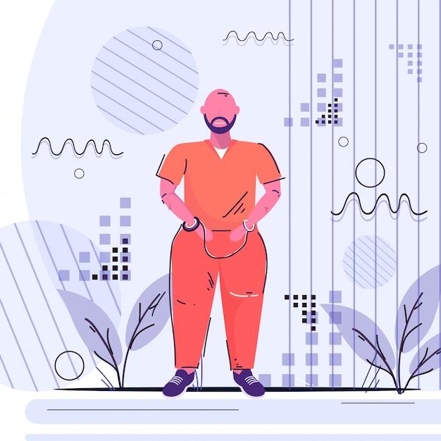 オレンジ色の制服を着た手錠囚人男刑事逮捕法廷投獄コンセプト男性漫画のキャラクター立ちポーズ全長スケッチ Premiumベクター