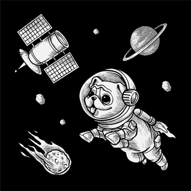 Handdrawing   illustration space pug Premium Vector