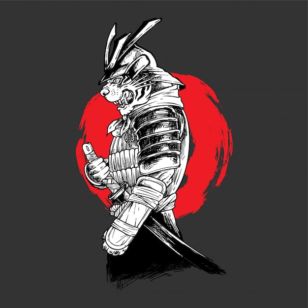 Handdrawing   illustration tiger samurai Premium Vector