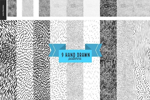 Handdrawn black and white patterns set Premium Vector