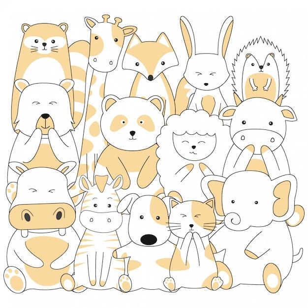 Handdrawn cute animals cartoon Premium Vector
