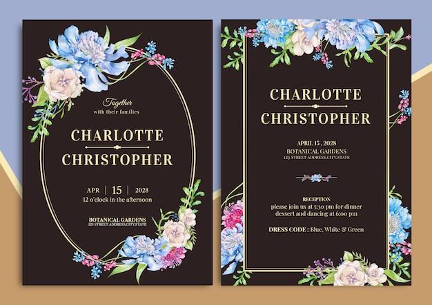 Handdrawn цветочные свадебные приглашения Premium векторы
