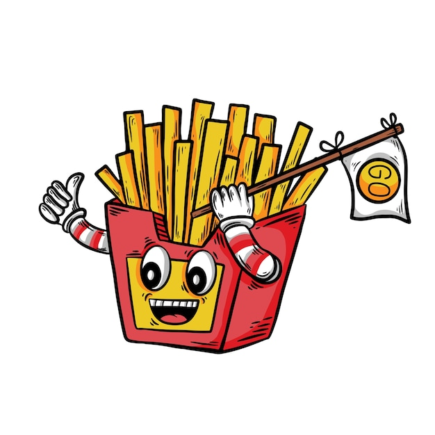 Handdrawn french fries with happy expression Premium Vector